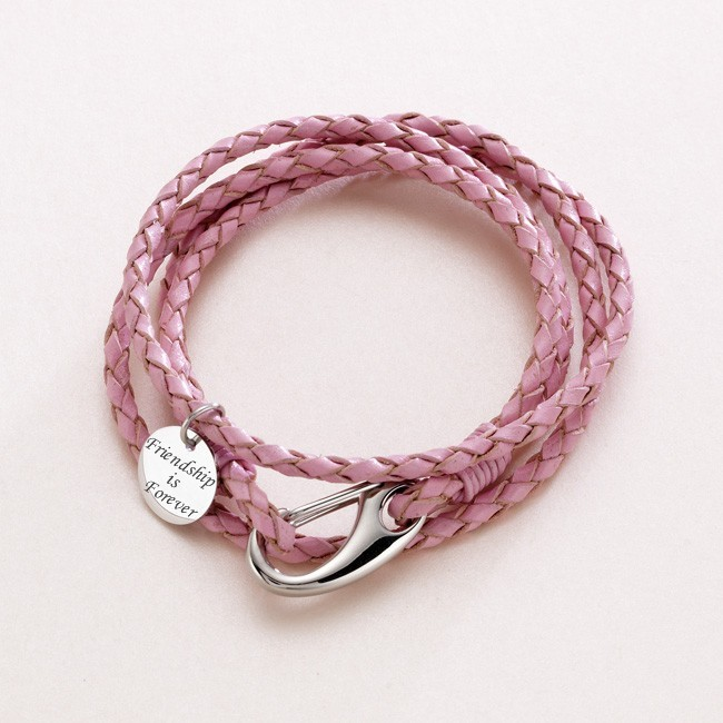 Leather Wrap Bracelet With Charms: Leather Wrap Bracelet, Engravable Charm, Various Colours